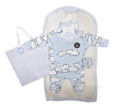 £13.45 • Buy Baby Boys Layette Clothing & Gift Bag Set 3 6 Months Starter Outfit Blue Hippo