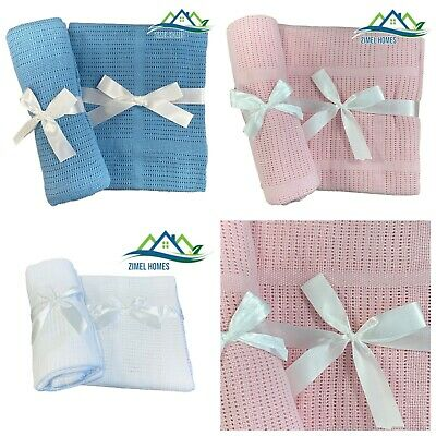 £3.99 • Buy 100%Cotton Baby Cellular Blanket For Crib/Pram/ Buggy/Cot /Moses Basket Snuggly