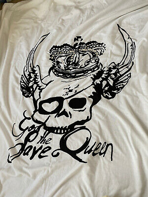 £5 • Buy Dwell God Save The Queen Skull White Embellished Embroidered Duvet Cover Double