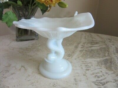 $12.99 • Buy Opaque White Milk Glass Compote Bowl, Candy Dish. Dolphin Pedestal