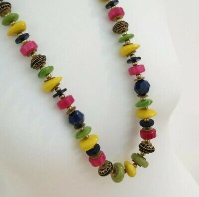 £4.89 • Buy Summer Holiday Long Brightly Coloured Bead Necklace Yellow Pink Green Blue Beads
