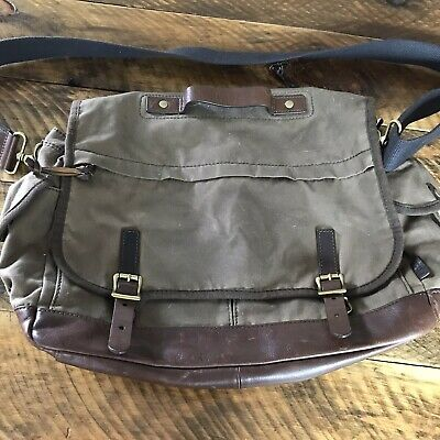 $49.98 • Buy Fossil Oiled Canvas Brown Leather Crossbody Messenger Laptop Bag Briefcase