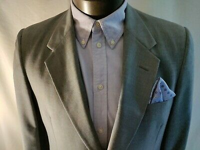 $174.99 • Buy Men Christian Dior Gray Two Button Worsted Polyester Suit Jacket Coat VTG 41L