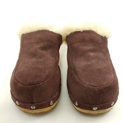 £23.03 • Buy UGG Kalie Shearling Lined Clogs Mules Slip Ons Burgundy Brown Womens Size 10