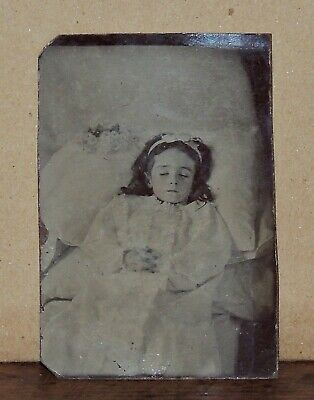 $19.95 • Buy Antique Post Mortem 6th Plate Tintype Photo Of A Young Girl