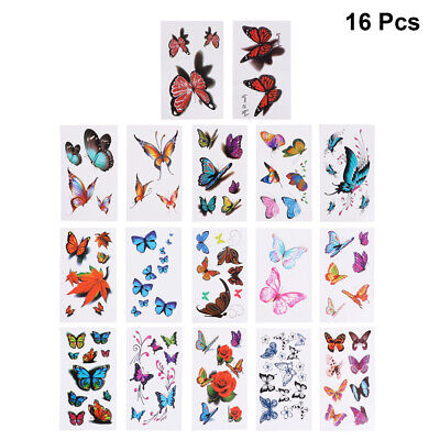 £1 • Buy 16pcs Tattoo Stickers Flower Safe Butterfly Beautiful Tattoo Stickers For Women
