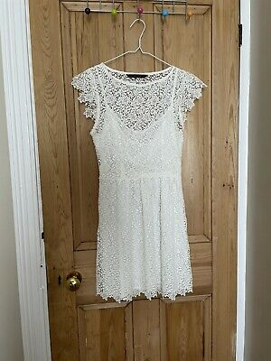 £7.30 • Buy Zara NEW White Embroidered Floral Lace Dress Size Small Underlay