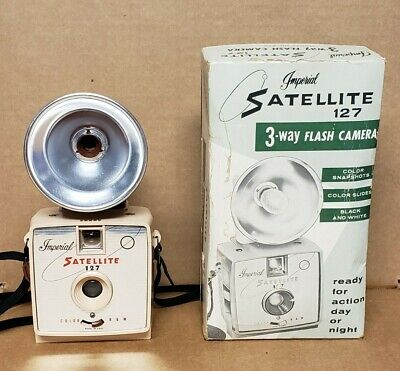 $ CDN43.87 • Buy VINTAGE IMPERIAL SATELLITE 127 3-WAY FLASH CAMERA W/ RED FLASH, BOX, AND PAPERS!
