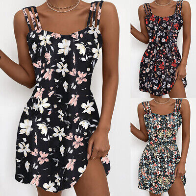 AU23.39 • Buy Women Floral Strappy Mini Dress Ladies Summer Beach Holiday Party Swing Sundress