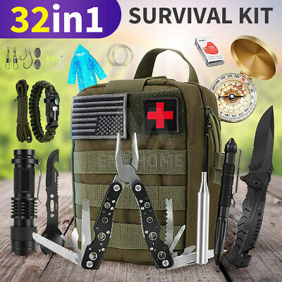 AU59.86 • Buy 32Pcs Emergency Survival Equipment Kit Outdoor Sports Tactical Camping Tool Set