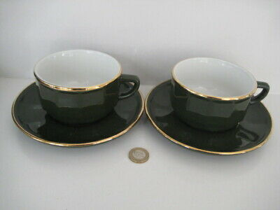 £44.99 • Buy 2  X  APILCO GREEN & GOLD LARGE COFFEE TEA CUPS AND SAUCERS FRENCH BISTRO WARE