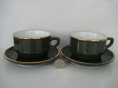 £29.99 • Buy 2  X  APILCO GREEN & GOLD MEDIUM COFFEE TEA CUPS AND SAUCERS FRENCH BISTRO WARE