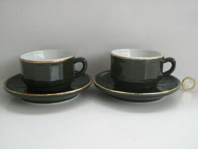 £24.99 • Buy 2  X  APILCO GREEN & GOLD SMALL COFFEE TEA CUPS AND SAUCERS FRENCH BISTRO WARE C