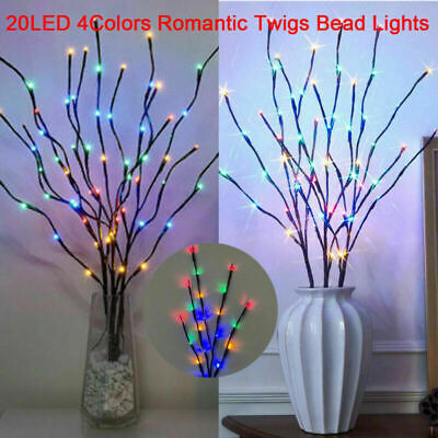 £7.50 • Buy 2X 20LED Romantic Twigs Bead Lights Branch Indoor Party Decor Twig Lamp Colorful