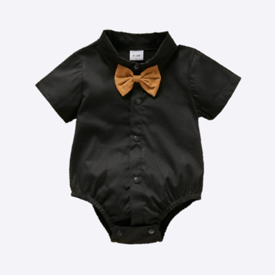 £9.25 • Buy Baby Boys Black Formal Short Sleeve Shirt & Bow Tie Romper Occasion Party Wear