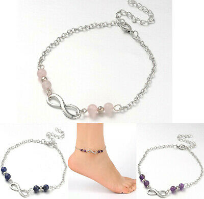 £4.95 • Buy Crystal Gemstone Bracelet Anklet Chakra Infinity Silver Ankle Chain Natural Gift