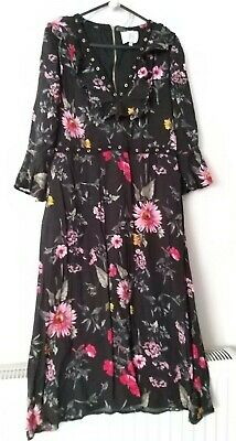 £9.99 • Buy Joy Louche Size 10 12 Midi Dress Floral Red Black White Rock Chic Pockets Quirky
