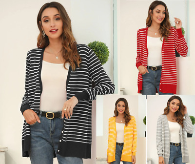 £8.99 • Buy Women's Button Up Striped Knit Cardigan Long Sleeves Mid Length V-neck Sweater