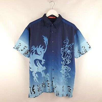£22 • Buy 90s Vintage Chinese Blue Dragon Shirt Retro Graphic Y2k Festival Party Size M