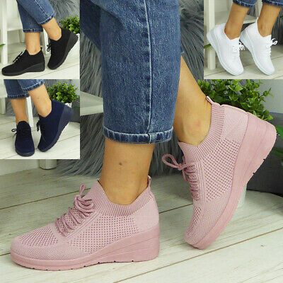 £13.90 • Buy Womens Slip On Shoes Wedge Pumps Ladies Comfy Casual Loafers Lace Up Trainers