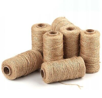 £2.39 • Buy 100% Natural Jute String Brown Shabby Rustic Twine Thick String Shank Craft 3PLY