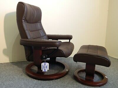 £465 • Buy Ekornes Stressless 'Opal' Leather Recliner And Stool Size Medium (336)