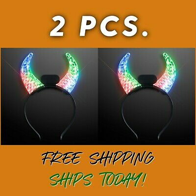 £13.09 • Buy 2X LED FLASHING COLOR CHANGING Devil Horns- HALLOWEEN PARTY HALLOWEEN COSTUME