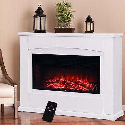 £255.95 • Buy Wall Insert 34'' Electric Fireplace &White MDF Surrounded Heater Stove LED Flame