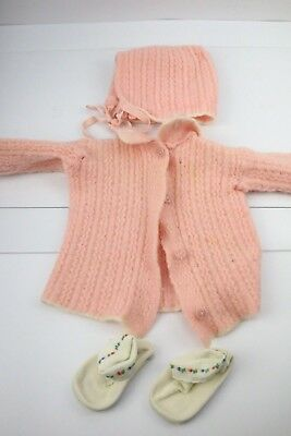 £29.42 • Buy Vintage Crochet Pink Baby/ Doll Clothes Lot Cardigan Sweater Booties Girl Retro