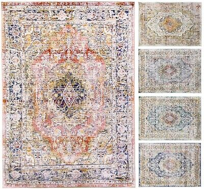£149.99 • Buy Bohemian Vintage Traditional Rug Distressed Faded Multi Coloured Medallion Mat