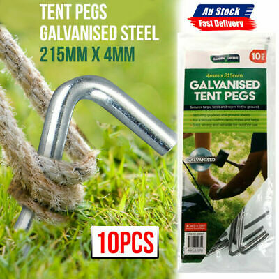 AU12.99 • Buy 10x Heavy Duty Tent Pegs Steel Ground Camping Stakes Outdoor Nail 4mm AU STOCK