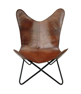 AU127.50 • Buy Leather Butterfly Chair - Genuine Leather Handmade Iron Frame Office Chair S6-23