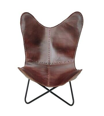 AU130.95 • Buy Genuine Leather Office Butterfly Chair Handmade Leather Relaxing Chair S6-22
