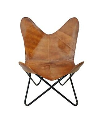 AU128.97 • Buy Indian Genuine Brown Leather Butterfly Relaxing Chair For Office And Home S6-20