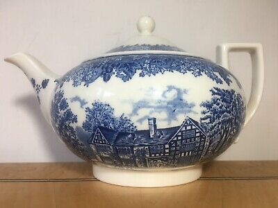 £28.50 • Buy Wedgwood Queens Ware The White Swan Teapot Romantic England Blue & White Vintage