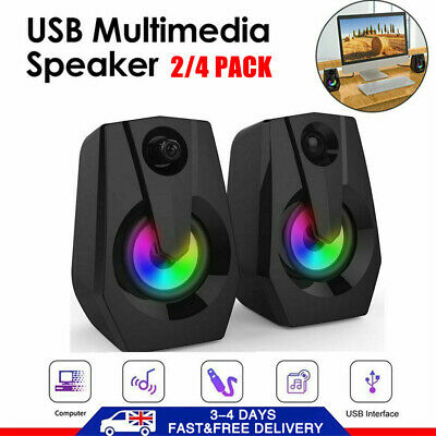 £9.59 • Buy Surround Sound System LED PC Speakers Gaming Bass USB Wired For Computer Desktop