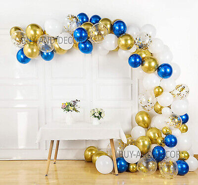 £6.99 • Buy Arch Kit Confetti Gold Garland Latex White And Chrome Royal Blue Ballon For Deco