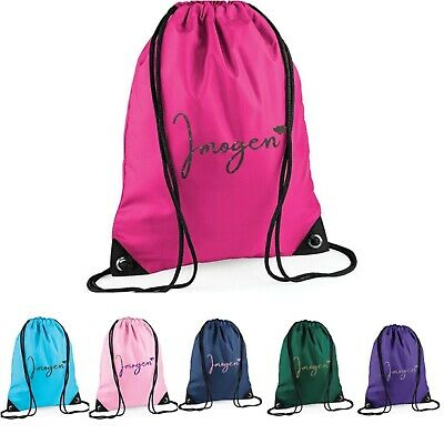 £7.25 • Buy Girls Personalised With GLITTER Name & Heart Drawstring Gym, Dance, Sport Bag