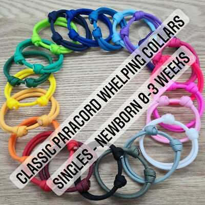 £1 • Buy Paracord Whelping Collar Puppy Kitten ID Collar, 18 COLOURS Reusable Adjustable