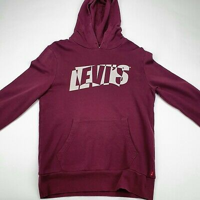 £5.90 • Buy LEVI'S Women's Hoodie Jumper Pullover Spellout Logo Burgundy Cotton Size Small S
