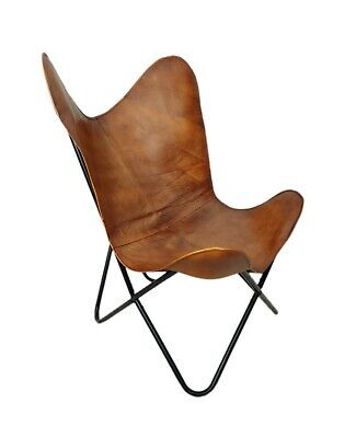 AU127.46 • Buy Indian Genuine Brown Leather Butterfly Relaxing Chair For Office And Home S6-20