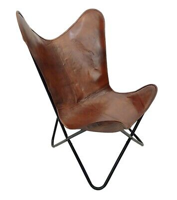 AU126.41 • Buy Leather Butterfly Chair - Genuine Leather Handmade Iron Frame Office Chair S6-23