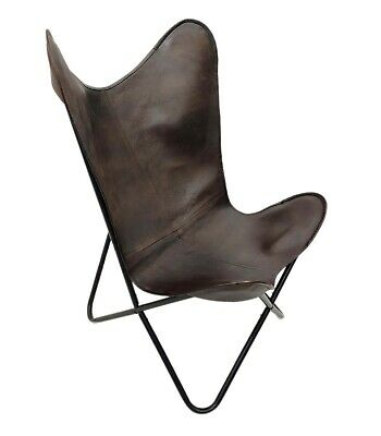 AU126.64 • Buy Indian Genuine Brown Leather Butterfly Relaxing Chair For Home And Office S6-25