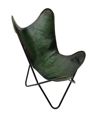 AU123.63 • Buy Genuine Green Leather Butterfly Chair Handmade Folding Chair Office Chair S6-28