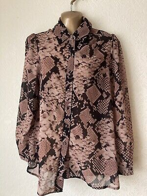£9.99 • Buy Lipsy Size 10 Shirt Brown Snakeskin Print In Immaculate Used Condition