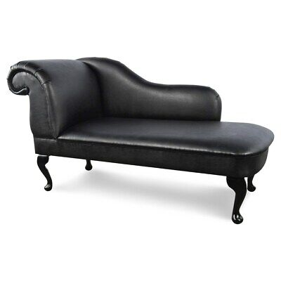 £159.99 • Buy Regent Handmade Black PU Leather Chaise Lounge Bedroom Accent Chair