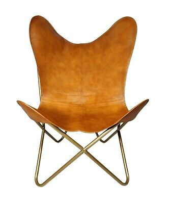 AU135.78 • Buy Indian Genuine Brown Leather Butterfly Relaxing Chair For Office And Home S6-62