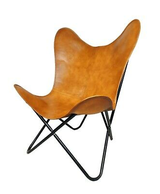 AU132.05 • Buy Handmade Genuine Brown Leather Butterfly Relaxing Chair For Office & Home S6-63