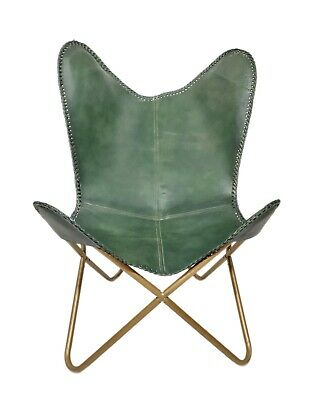 AU136.29 • Buy Genuine Green Leather Butterfly Chair Handmade Folding Chair Office Chair S6-68