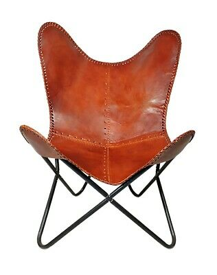 AU132.97 • Buy Indian Handmade Genuine Brown Leather Butterfly Chair For Home And Office S6-72